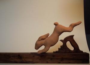 """fuga"" - terracotta e legno"