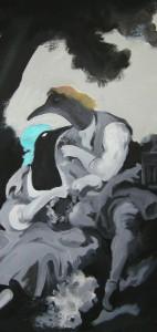 """""""the cage"""" acrilico su tela - 50x100 - 2006"""