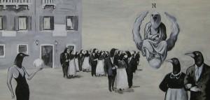 """""""disputa sulla sfera"""" acrilico su tela 50x100 2006"""
