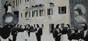 """""""processione"""" acrilico su tela 50x100 2006"""