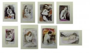 1-donne acquarello su c. Fabriano - 1985